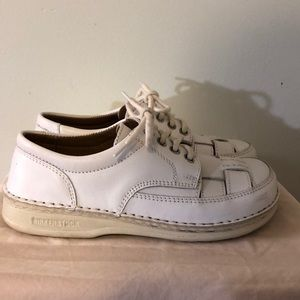 Birkenstock White Leather Lace up Loafer